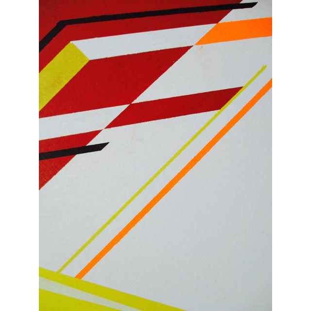 Abstract Geometric Acrylic Painting Hard Edge Style - Image 4 of 8