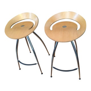 Magis Lyra Italian Natural Wood Bar Stools - a Pair For Sale