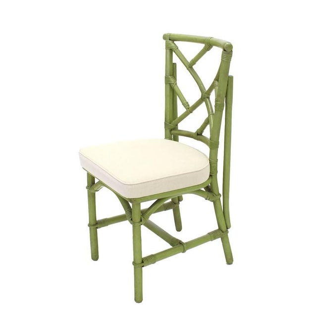 Square Game Table and Four Chairs Green Faux Bamboo Rattan For Sale - Image 10 of 11