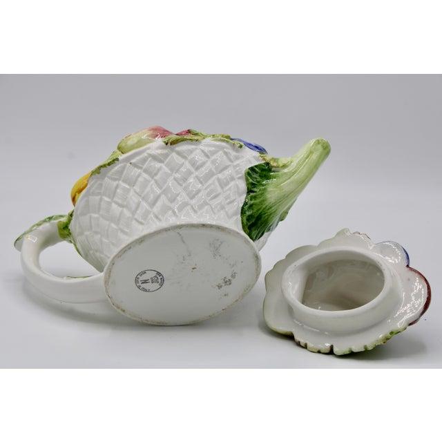 White Vintage Italian Ceramic Fruit Teapot For Sale - Image 8 of 13