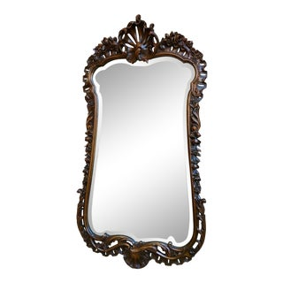 Antique French Open Carved Oak Wall Pier Mirror For Sale
