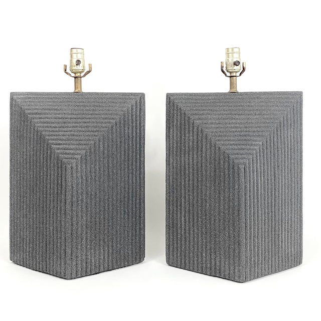 1980s Grey Postmodern Stepped Ceramic Lamp Pair For Sale - Image 13 of 13