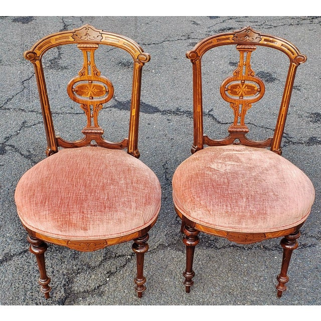 19th Century American Upholstered Renaissance Revival Walnut Chairs-a Pair For Sale - Image 10 of 10