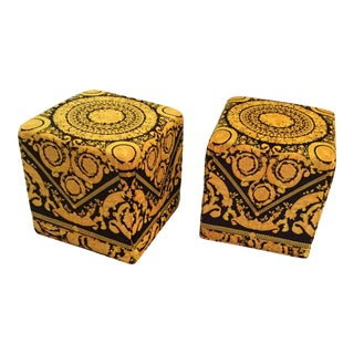 21st Century Vintage Versace Custom Made Cube Ottomans- a Pair For Sale