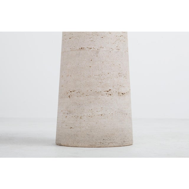 Marble Angelo Mangiarotti Travertine Pedestal For Sale - Image 7 of 8