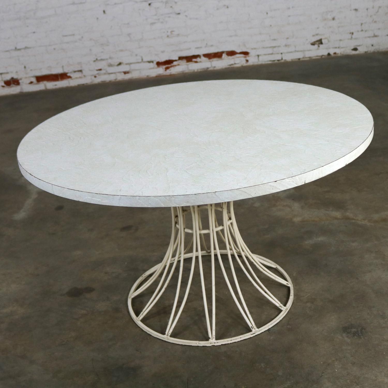 Mid Century Modern Round Wrought Iron And Laminate Patio Dining