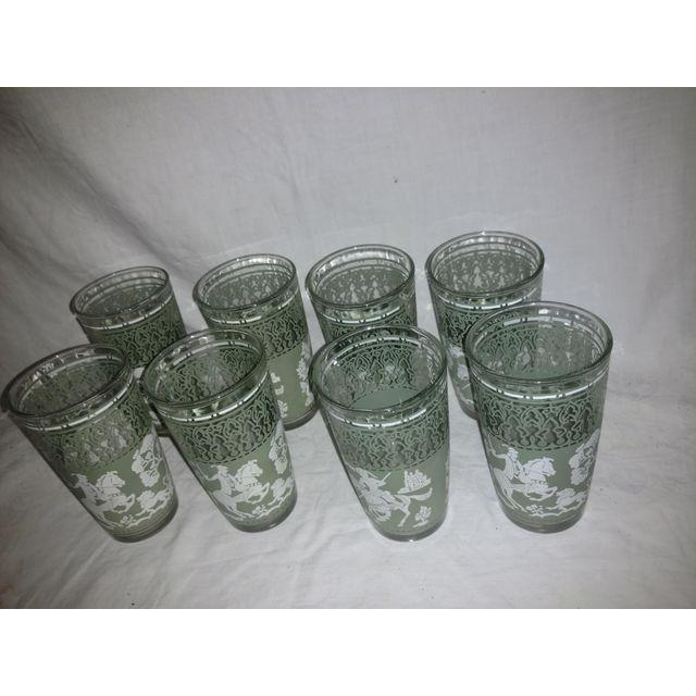 Hazel-Atlas Vintage Arabian Knights Hazel Atlas Green Bar Glasses - Set of 8 For Sale - Image 4 of 6