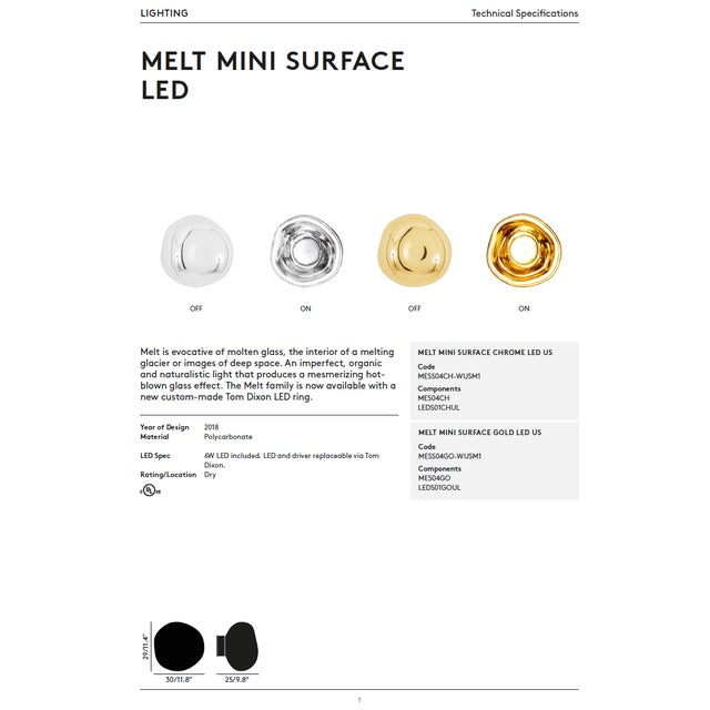 Tom Dixon Melt Mini Surface Led Chrome For Sale In Los Angeles - Image 6 of 10