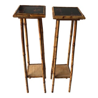 Antique Bamboo Tall Planters - a Pair