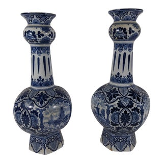 Vintage Delft Dutch Blue and White Faience Vases - a Pair For Sale