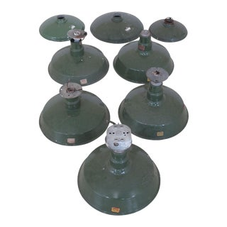 Quadrangle Vintage Green Enamel Light Fixtures - Lot of 8 For Sale