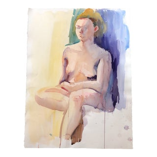 Original Vintage Female Nude Study Watercolor Painting Lg For Sale