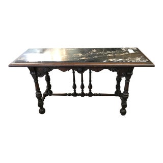 1920's Spanish Walnut Marble Top Library/Sofa Table