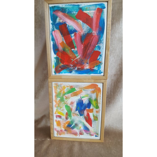 A Pair- Original Abstract Acrylic Paintings in Cubed Wooden Frames For Sale In Charlotte - Image 6 of 13