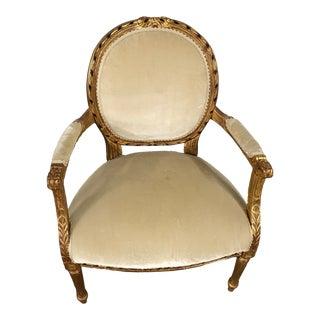 Antique Velvet Side Chair For Sale