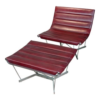 George Nelson Red Leather Catenary Chair & Ottoman