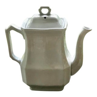 Antique White Ironstone Teapot For Sale