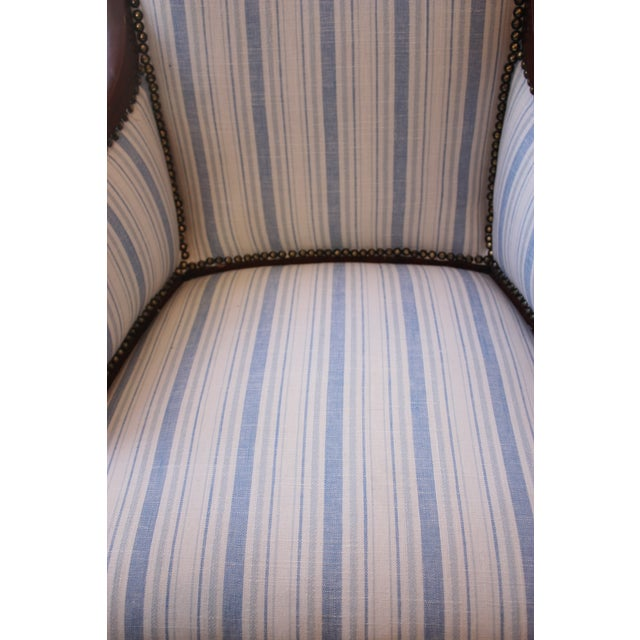 Vintage Blue & White Striped Nailhead Chair For Sale - Image 5 of 9