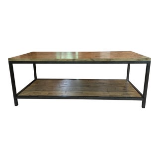 Rustic Wood and Wrought Iron Coffee Table