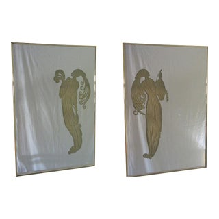 Maurice Villency Deco Style Mirrors W/ Light-Up Figures - a Pair For Sale