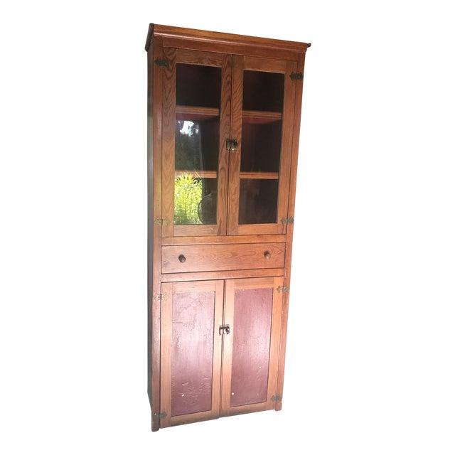 Vintage Rustic Pine Kitchen Cabinet
