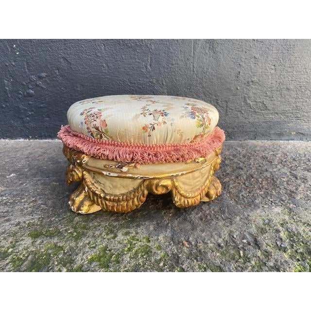 Early 18th C. Mini. Giltwood Italian Carved Foot Stool With Swag Motif