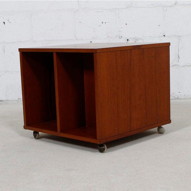Rolling Vinyl / Book Caddy / Multifunctional Storage Cube in Teak - Image 6 of 10