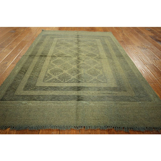 "Overdyed Geometric Green Wool Rug - 4'6"" x 6' - Image 4 of 8"