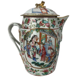 Early 19th Century Chinese Export Famille Rose Porcelain Cider Jug For Sale