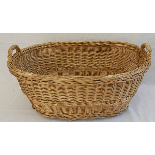 Early 1900s Woven French Country Market Basket - Image 8 of 8