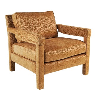 Large Parsons Chair Newly Reupholstered Caramel Color For Sale