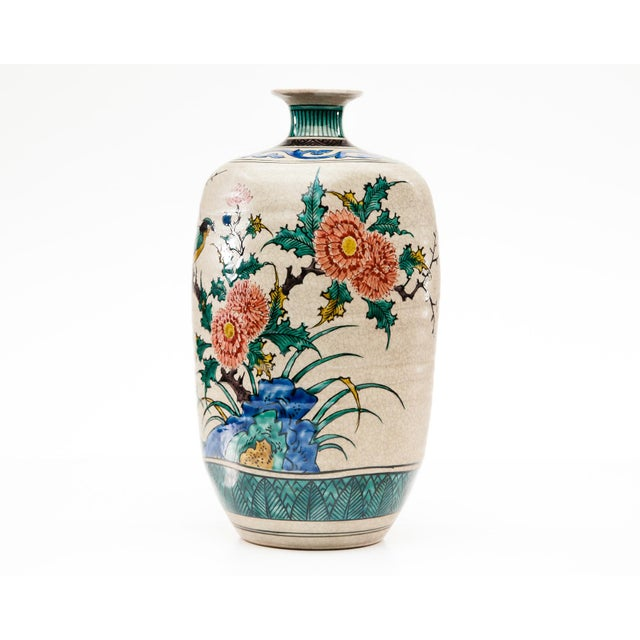 Vintage stoneware square vase with hand-painted birds. From the famed studios of Kutani. Fuku (fortune) at the bottom as...