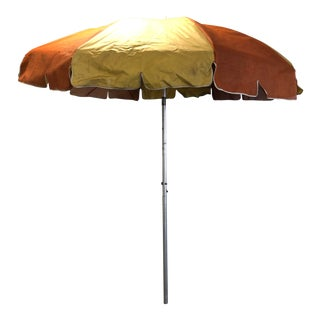 Vintage Mid Century Orange & Yellow Vinyl Umbrella For Sale