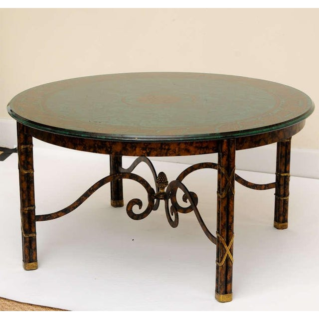 This wonderful Fornasetti style reverse painted malachite, fern and rope glass top table is embellished with a faux...