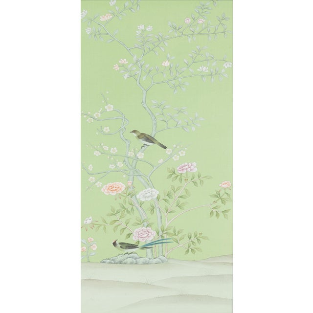 """Asian Jardins en Fleur """"Stockwood Park"""" by Simon Paul Scott Chinoiserie Hand-Painted Silk Diptych, Out of Production - 2 Pieces For Sale - Image 3 of 6"""