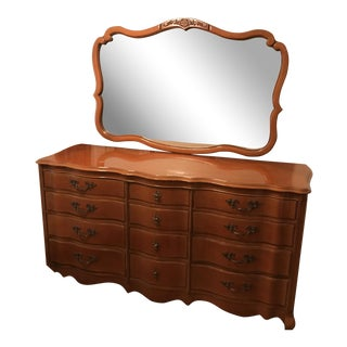 Antique Wooden 12-Drawer Dresser With Mirror For Sale