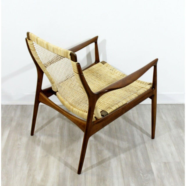 Wood Mid Century Modern Danish Kofod Larsen Cane Lounge Armchair 1960s For Sale - Image 7 of 10