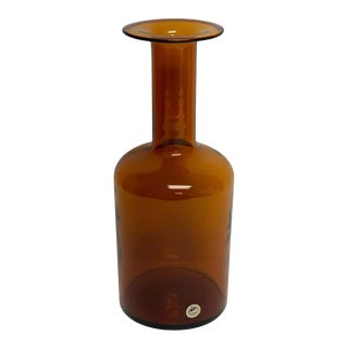 Citrine Holmegaard Glass Bottle Vase by Otto Brauer For Sale