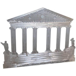 Hollywood Regency Silvered Fireback of a Roman Temple