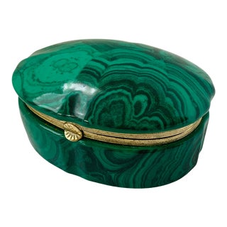 Vintage Malachite Style Porcelain Hinged Box For Sale