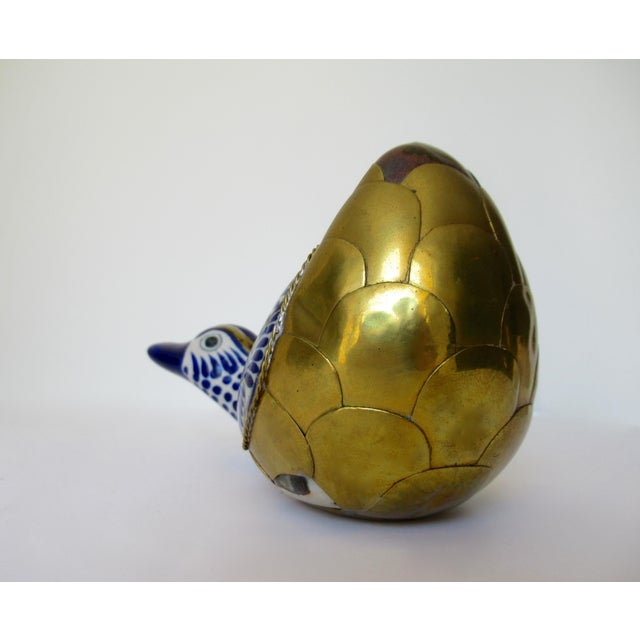 Brass Vintage Mexican Ceramic Pottery & Brass Scaled Bustemante-Style Duck For Sale - Image 7 of 13
