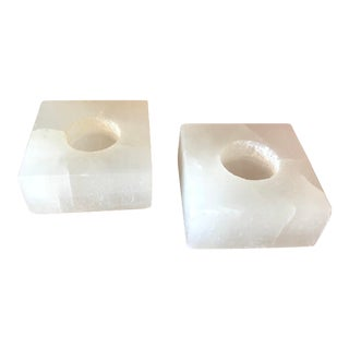 Modern Square Selenite Votive Holders - a Pair For Sale