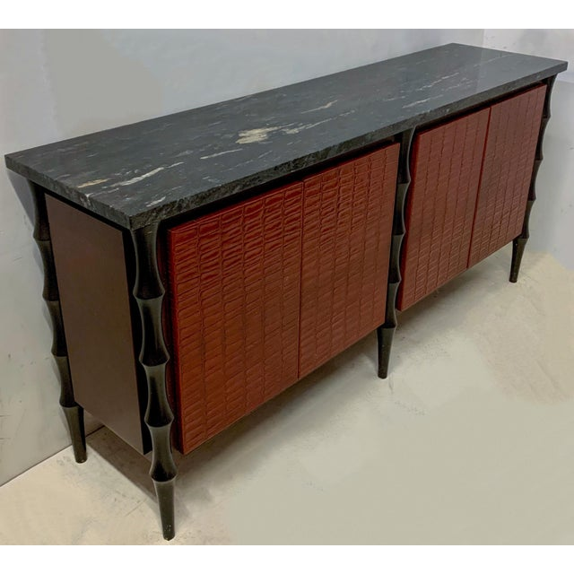 Billy Baldwin Style Faux Crocodile Credenza or Sideboard For Sale - Image 11 of 11