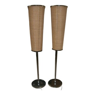 Reduced Gabriella Crespi Style Italian Floor Lamps Wicker Shades and Chrome - a Pair For Sale