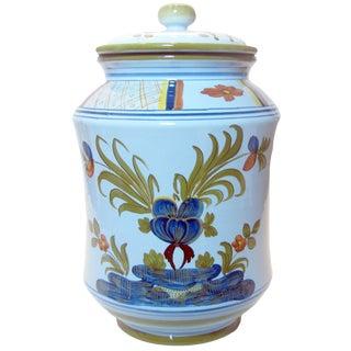 Italian Garofano Blue Carnation Majolica Canister For Sale