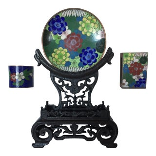 Early 20th Century Chinese Cloisonné Collection, Blue, Green, Red, & White Pieces - Set of 3 For Sale