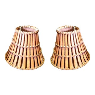Wicker Wood Mini Chandelier Sconce Lamp Shades - A Pair For Sale