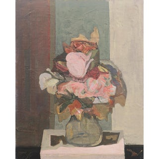 'Still Life of Roses' by Marcello Boccacci, Italian Modernist Oil, New York Museum of Modern Art, Guggenheim, Metropolitan For Sale