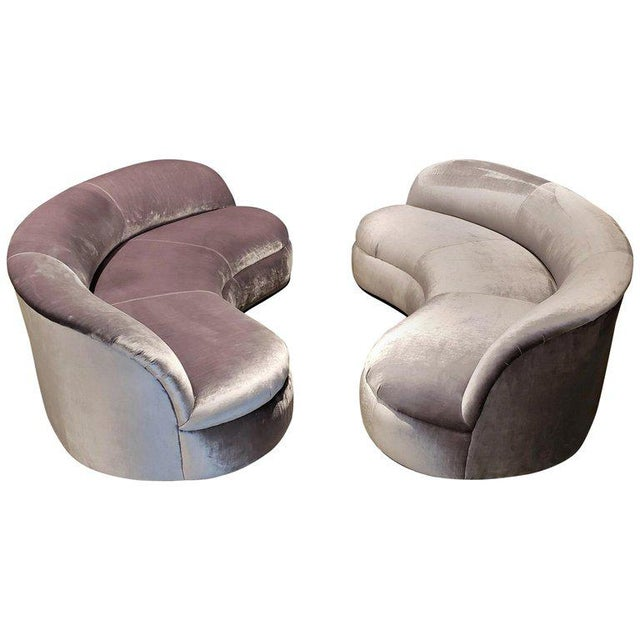 Directional Kagan Style Restored Velvet Biomorphic Curved Sofas For Sale - Image 11 of 11