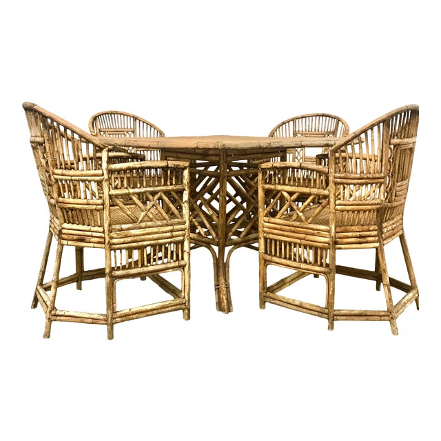 Brighton Pavilion All-Cane Table Top Dining Set - 5 Pieces For Sale